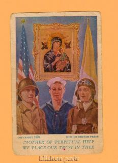 Vintage WWII Army Navy Air Force Holy Card 1943