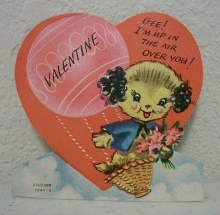 Valentines Day Card, Dog in Hot Air Balloon, A Meri Card, Cute