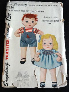 Vintage 16 Brother & Sister Stuffed Doll Patterns & Transfers