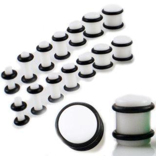 WHITE 14Pc Ear PLUG Kit Gauges Set PAIRS 10G 8G 6G 4G 2G 0G 00G