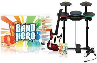Nintendo Wii guitar BAND HERO Super Bundle Kit Game Set