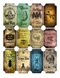 Vintage inspired Halloween 12 bottle label stickers scrapbooking