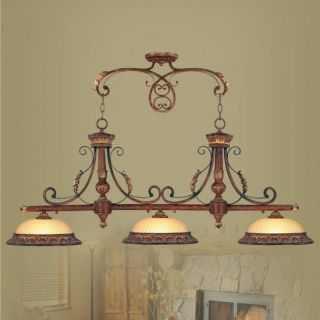 NEW 3 Light Island Pendant Lighting Fixture, Verona Bronze, Rustic Art