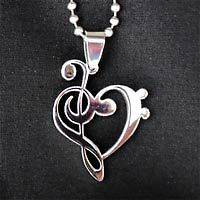 Music Pendant Treble Heart Clef Charm necklace   stainless steel