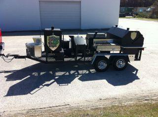 new bbq smoker trailer stove grill warming box sink deep fryer side