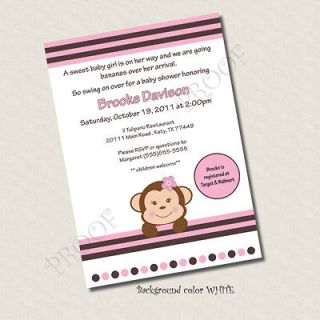 Printable Baby Shower invitation Girl Monkey custom