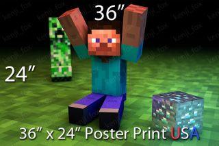 Minecraft PC HUGE Poster Print 36x24 Steve Yay Diamond Creeper USA