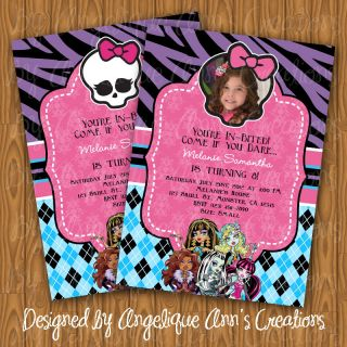 Monster High DIY Printable Birthday Photo Invitations