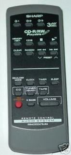 SHARP SHELF MINI STEREO SYSTEM REMOTE CONTROL RRMCG0047SJSA CD XP120