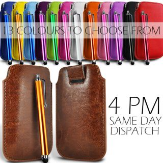 PREMIUM PU LEATHER PULL FLIP TAB CASE COVER POUCH & STYLUS PEN FOR