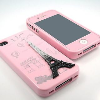 New Eiffel Tower Rhinestone Baby Pink Silicone case+Same Screen for