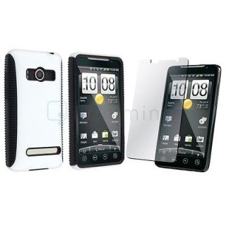 Dual Flex Hard Case Gel Cover+LCD Film Guard Protector For HTC Evo 4G