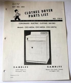 Coronado Electric Clothes Dryers Parts List For Models