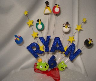 ANGRY BIRDS STARS WIRED BIRTHDAY CAKE TOPPER ANY NAME AGE