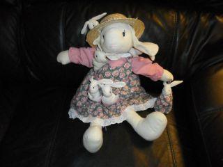 20 ABC Distributing Bunny Rabbit Floral Dress w/ baby bunny soft