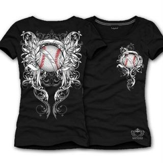 Katydid Navy Blue Peace Love Baseball Rhinestone Shirt   Med