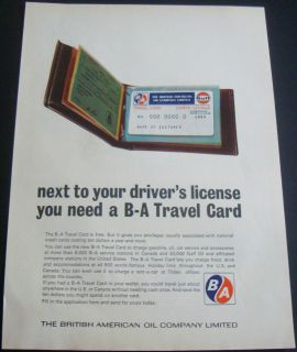 BRITISH AMERICAN OIL GAS BA CANADA BA TRAVEL CREDIT CARD WALLET AD