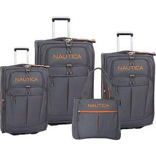 Nautica Helmsman 4 Piece Luggage Set   Grey/Orange