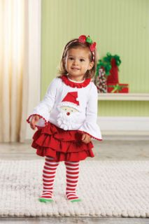 Mud Pie Christmas Baby Infant Girls Santa Tab Skirt Tights Set 0M 12M