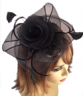 BLACK FLOWER FASCINATOR HEADBAND HAIR CLIP VEIL DERBY Accessory