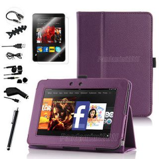 For Kindle Fire HD 7 PU Leather Case Cover Stand/Car Charger/Stylus