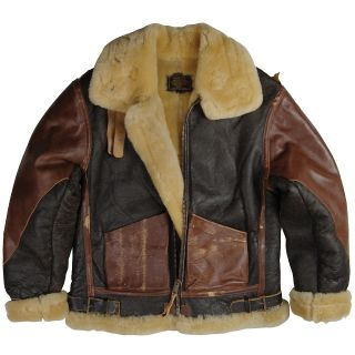 ALPHA INDUSTRIES B 3 VINTAGE LEATHER SHEEPSKIN AIR FORCE BOMBER JACKET