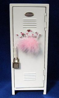 Girls Locker Jewelry Box In Whie wih Princess Magne and Lock and