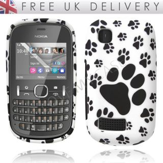 Nokia Asha 200 / 201 / Stylish Black & White Paw Print Gel Case