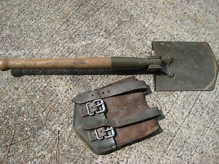 Military Trench Shovel Pick w/Leather Case, Prospecting Camping