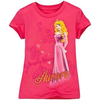 Disney Aurora Gold Glitter Sleeping Beauty Tee T Shirt Top Clothing