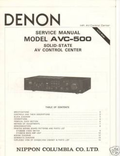 Original Denon Service Manual AVC 500 AV Control Center
