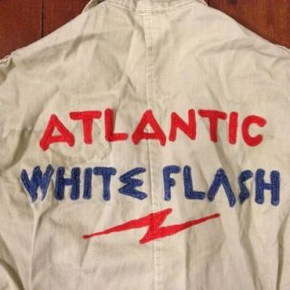 Vintage ATLANTIC WHITE FLASH Shop Coat 46 Chain Stitched