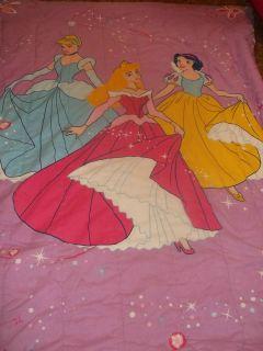 Twin Size Princess Comforter Reversible Cinderella Aurora Snow Whit