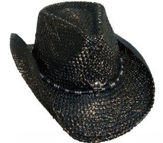 BRET MICHAELS BLACK WESTERN COWBOY HAT SKULL CONCHO GREAT ROCKIN