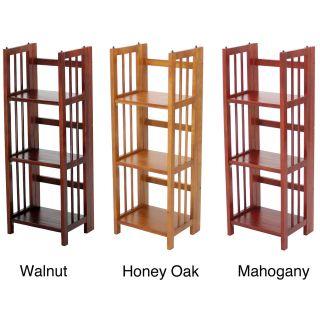 Folding Stackable 3 shelf Wood Bookcase