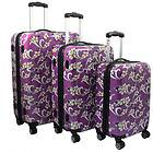 Purple Tropical Flower 3 piece Lightweight Expandable Hardside Spinner