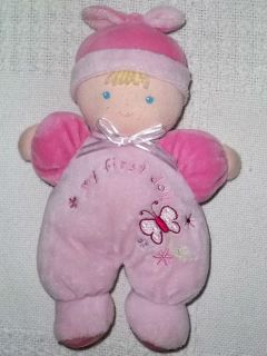 CARTERS Plush MY FIRST DOLL Blonde Pink Baby BUTTERFLY Just One Year