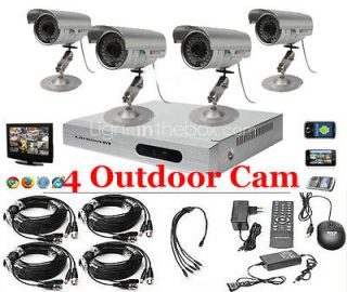 Channel CCTV DVR Kit Home Security iPhone Android 4 IR night vision