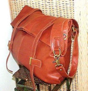 NWT $212 JESSLYN BLAKE Crossbody Eco Friendly Tan LEATHER Mail BAG