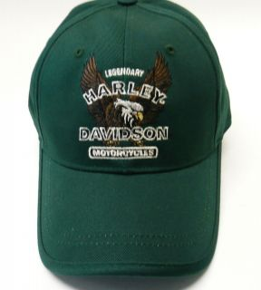 NWT S Harley Davidson motorcycle hat cap green legendary eagle fitted