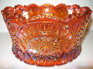 Marigold iridescent Carnival glass serving candy bowl diamond pattern