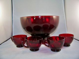 Anchor Hocking Royal Ruby Punch Bowl Stand 4 Cups Vintage Glass Free