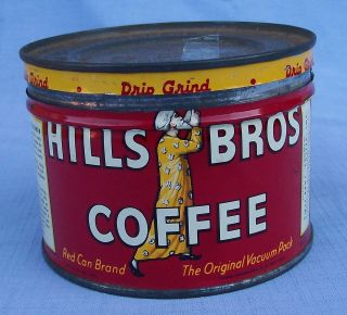 Vintage Hills Bros Coffee Tin   Red Can Brand 1/2 Pound RARE