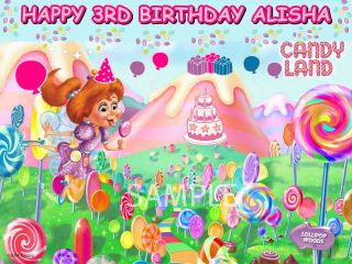 CANDY LAND FROSTING SHEET EDIBLE CAKE TOPPER IMAGE DECORATIONS