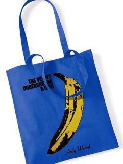 THE VELVET UNDERGROUND Andy Warhol Cotton Tote Bag / Shopper Blue