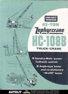 1964 Link Belt Speeder 45Tn Zephyr Truck Crane Brochure