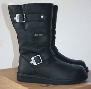 KENSINGTON UGG AUSTRALIA BIKER BOOTS BLACK US6 7 8 9 10