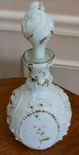 Vintage Milk Glass Hand Painted Large Vanity Dresser Bottle