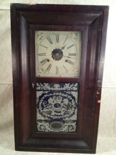 Antique E.N. Welch OG Clock Great Case and Reverse Painting of Lion