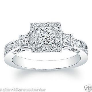Cut Diamond Three Stone Engagement Anniversary GIA D VS1 Ring 14k